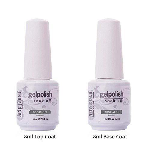 Arte Clavo 8ml UV-LED-Lack Gel-Lack 2Primer Base Coat und Wischen kein Top Coat Nagellack-Gel Set