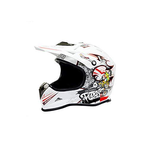 Preisvergleich Produktbild Zhanghaidong Motocross Quad Crash DH Helm Weiß Rot Full Face Off Road Downhill Motorrad Helm Für Erwachsene Männer Frauen Kind MX Off Road Motorrad ATV Helm