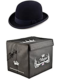 Major Wear Black Wool Felt Stiff Bowler Hat Satin Lined complete with Hat  Box 3e1289ccfe97