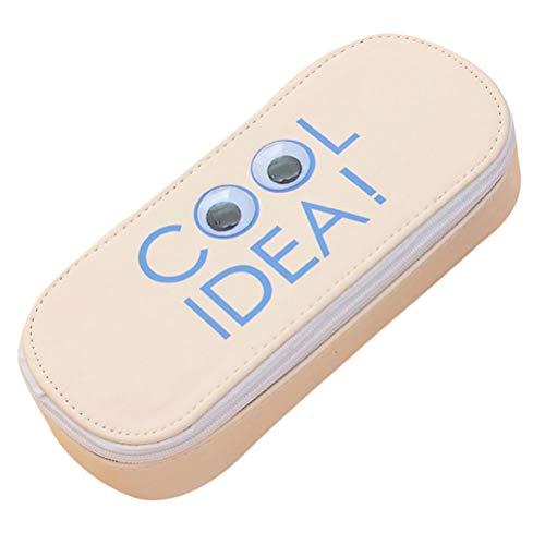 bonkkara ☀ Creative Eye Multifunktions-Stationery Pen Federmäppchen Pocket Kosmetiktasche Schulbedarf Geschenk beige