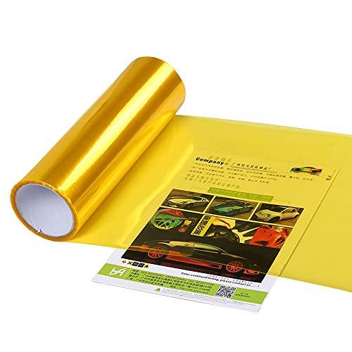 XUPHINX Selbstklebendes Auto-Licht-Aufkleber-Rauch-Nebel-Licht-Rücklicht-Scheinwerfer-Tönungs-Vinylfilm-Blatt-Gold