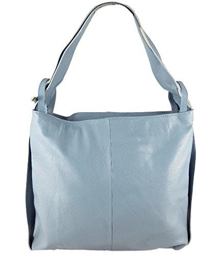 Freyday 2in1 Damen Handtasche Rucksack Designer Luxus Henkeltasche aus 100% Echtleder (Eisblau) (Große Luxus-handtaschen)