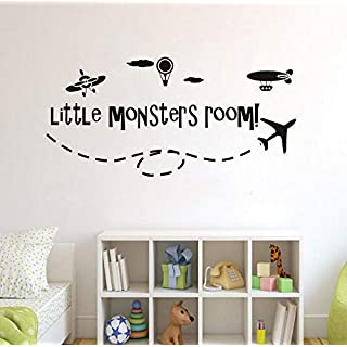 Boys Room Decor Aircraft Hot Air Balloon Vinyl Wall Sticker Little Monsters Room Wall Decal Kids Room Airplane Murals 88x42cm