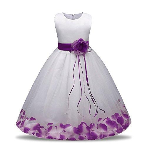 Weihnachten Kleinkind Baby Mädchen Geburtstag Prinzessin Kleid Blumenmaedchenkleid Blumen Formal Hochzeit Party Kleider Brautjungfer Pageant Outfits Kleidung Lonshell (24M / 100, Violett) (Hochzeit Für Outfits)