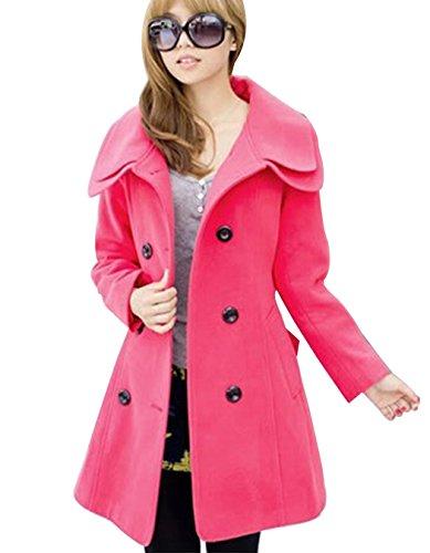 ZEARO Damen Wintermantel Zweireiher Trenchcoat Doppelschicht Kragen Mantel Parka coat Rot