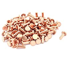 """Sourcingmap–® 100pcs 1/8""""x 5/16tornillos de cabeza plana de cobre macizo remaches cierres"""