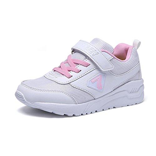 Unisex Kinder Trainer Kids Anti-Slip Velcro Mesh Schuhe White Pink Sneakers für 4-16 Jahre Alt (Von 1 New Boys-größe Balance Schuhe)
