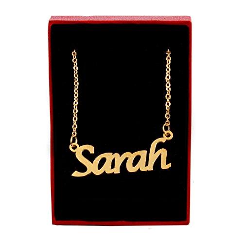 Kigu Sarah Halskette mit personalisiertem Namen, 18 Karat vergoldet, Verstellbare Kette 40,6 cm – 48,3 cm Verpackung 6
