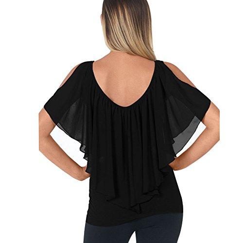 Newbestyle Sommer T-Shirts Damen Schulterfrei Sexy Tunika Top Shirts Schwarz