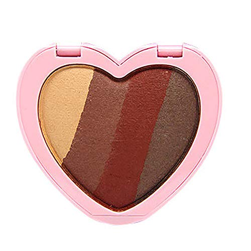 kashyk 4-Farben-Herz-Lidschatten-Palette, matt blitzwasserdicht und einfach zu färben Lidschatten-Tablett, kompaktes, tragbares Kosmetiktablett
