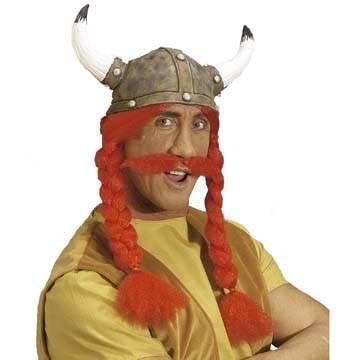 PARTY DISCOUNT ® Wikinger-Helm mit roten Zöpfen und Schnurrbart