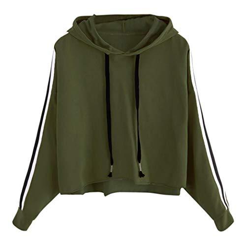 VEMOW Herbst Damen Gestreiftes Long Sleeve Hoodie Sweatshirt Casual Daily Party Sport Dating Trainieren Jumper Mit Kapuze Pullover Tops Bluse(Grün, EU-38/CN-S)