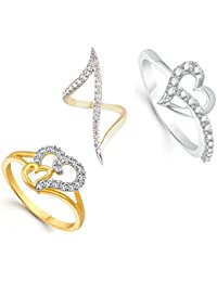 Lady Touch Combo Of Gold & Rhodium Plated American Diamond Heart Adjustable Rings For Girls And Women_Free Size