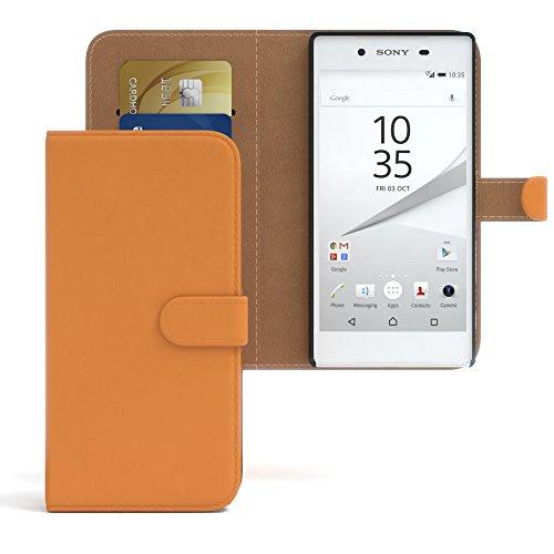 Sony Xperia Z5 Hülle - EAZY CASE Premium Flip Case Handyhülle - Schutzhülle aus Leder in Grün Orange (Book)