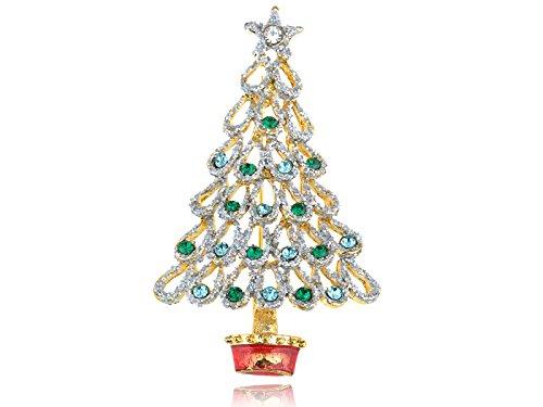 Glitzer-Strass-Smaragdgrn-Brosche-Weihnachtsbaum