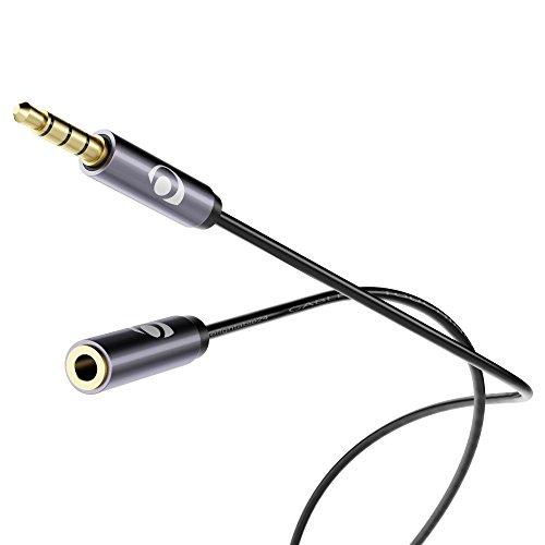 NALIA Cable alargador con Conectores metálicos Dorados para Audio estéreo - Cable Conector para entradas AUX - Conector Jack DE 3,5 mm y Entrada Jack DE 3,5 mm - Negro/Gris - 0,5 Metros