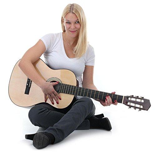 Classic Cantabile AS-851 1/2 Konzertgitarre Starter Set (Komplettes Anfänger Set mit Klassik Gitarre, Gigbag Tasche, Nylonsaiten, Lehrbuch/Schule inkl CD und DVD, 3x Plektren und Stimmpfeife) - 2