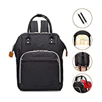 Wemk Baby Changing Bag Diaper Bag High Capacity Travel Nappy Changing Backpack for Mum Dad with Stroller Straps (Black)
