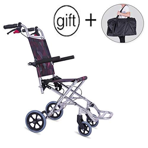 Lite Aluminium Rollstuhl, leichte und faltbare Rahmen Portable Transit Travel Chair Kostenlose Installation kann das Flugzeug nehmen (Senden Reisetasche)