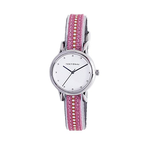 tokyobay-t623-pk-womens-stainless-steel-pink-nylon-band-white-dial-smart-watch