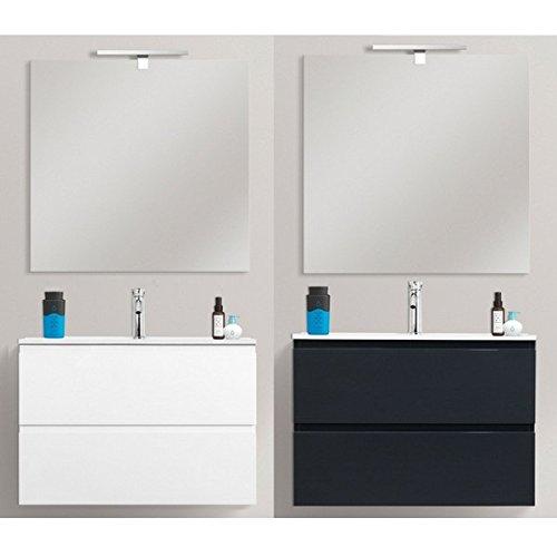 Mobile arredo bagno moderno 70x35,5 sospeso ultraslim salvaspazio specchio incluso lavabo integrale in resina