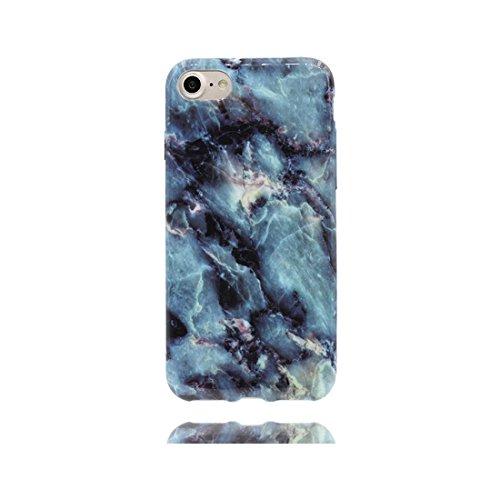 [ Iceberg Nero ] iPhone 6/6s Marble Custodia, Cover [Stone Texture Collection] Stampa in marmo TPU Soft Custodia per iPhone 6 / 6S (4,7 pollici) Case anti-shock anti-graffi Color 6