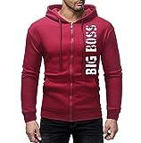 NINGSANJIN Herren Pullover Kapuzenpullover Basic V-Neck Sweater (Wine,L)