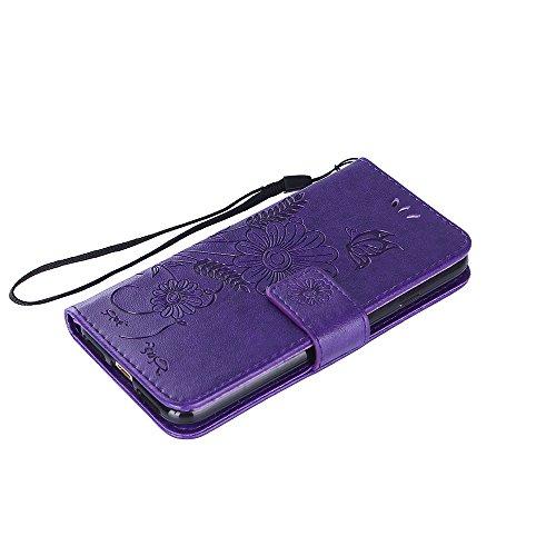 iPhone 8 Hülle, iPhone 7 Hülle, iPhone 8 / iPhone 7 Lederhülle, iPhone 8 / iPhone 7 Hülle Brieftasche, BONROY [Premium Leder Serie] Retro Rosen Muster Rosa Handyhülle Schutzhülle PU Leder Flip Tasche  Deep Purple