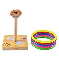 Toyvian Jungle Animals Wooden Indoor Outdoor Ring Toss Game for Kids(Random Pattern)