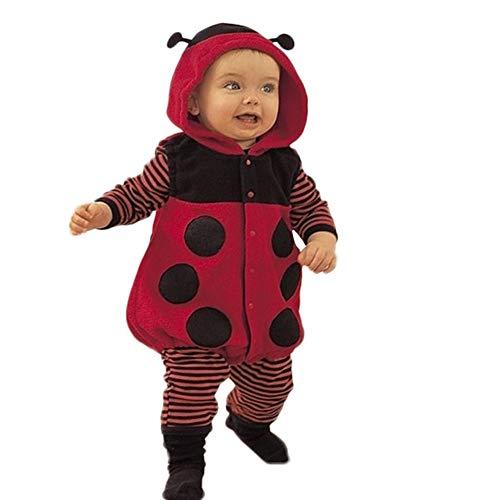 QinMM Mono de Mariquita con Capucha de Lindo para Bebé Infantil Niño niñas de Peleles Manga Larga Jumpsuit Animal Body Calida Invierno