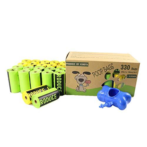 Kumoya Bolsas de basura biodegradables para perros, con dispensador y clip de plomo extragrande, extra gruesas, a prueba de fugas, aromáticas