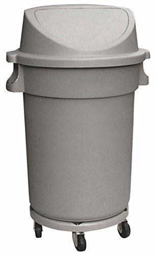 Abfalltonne mit Push-Deckel & Rädern, rund, 120 ltr., HDPP, grau