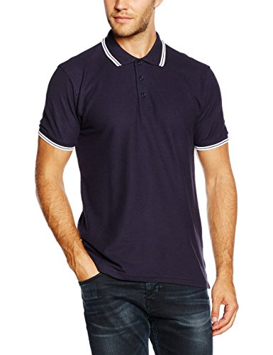 Fruit of the Loom Herren Poloshirt Blau (White/Deep Navy)