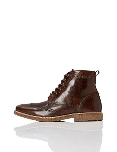 FIND Stiefel Herren aus Nappaleder mit Brogue-Design , Braun (Brown), 42 EU