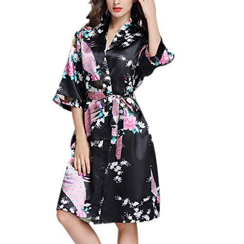 Pijama de Kimono para Mujer, Vestido de Novia de Raso con Cuello...