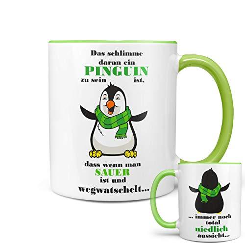 (★★Riesen Auswahl★★ Tasse Spruch Motive Fun Premium Geschenk Keramik, Original Sunnywall ® Geschenkidee (26 Pinguin niedlich))