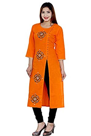 Pinky Pari Women's Cotton Slit Kurti (X-Large)