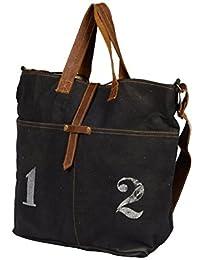 Priti Vintage Design Handbag Tote Bag Travel Bag In Washed Canvas Leather - B0791FHXTK