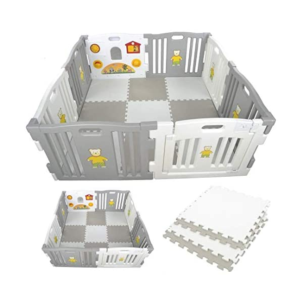 Millhouse Plastic Baby Playpen with Activity Panel with Play Mats Included (Grey & White with Mats) Millhouse Millhouse Plastic Baby Playpen 8 Sides with Activity Panel WITH Grey and White PLAYMATS / 9 Play Mats Included (Individual Size: 49 x 49 x 1 cm / Total Play Mats Size: 148 x 148 x 1 cm) / Suitable age range: 6 - 24 months Playpen with 8 Panels (Including 1 White Door Panel, 1 White Play Panel, 6 Normal Panels - 4 Grey + 2 White) Single Panel Size: 79 x 63 cm / Total Playpen Size: 157 x 157 x 63 cm / Packaging Size: 80 x 41 x 64 cm / PLEASE NOTE: Please note the suction caps will only stick on tile / wooden / laminate flooring and any dust on the floor or suction caps will prevent the suction from working. These are not suitable for sticking on carpet. 1