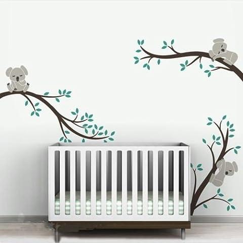 A002 Grande taille des branches d'arbres Koala DIY muraux mur