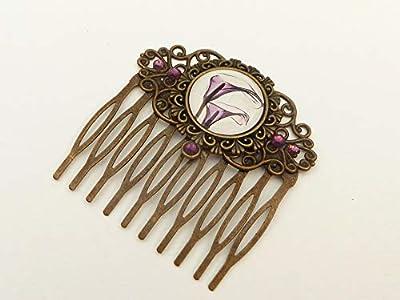 Peigne à fleurs calla en bronze violet