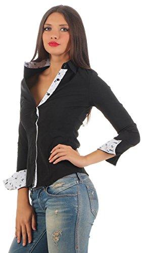 5830 Fashion4Young Taillierte Damen Langarm Businessbluse Damenbluse Hemdbluse Business Stretch Bluse Citylook Schwarz