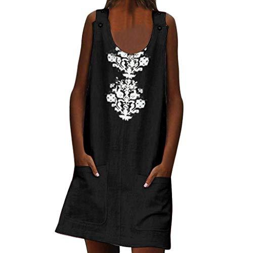 CANDLLY Kleider Damen, Sommer Mode Beiläufig Elegant Böhmische Jahrgang Vintage Ärmellose Knöpfe mit O-Ausschnitt Taschen Leinen Drucken Lässiges Gerades Minikleid Cute ()
