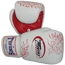 Twins Special Fancy Guantes de boxeo 100% Piel Vacuno Blanco y Rojo Dragon 12onzas)