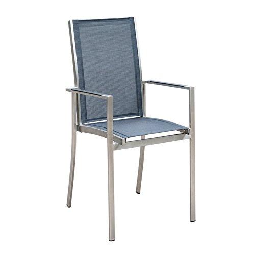 OUTLIV. Gartenstuhl Oviedo Stapelsessel Edelstahl/Textilene silber-schwarz Stuhl Garten