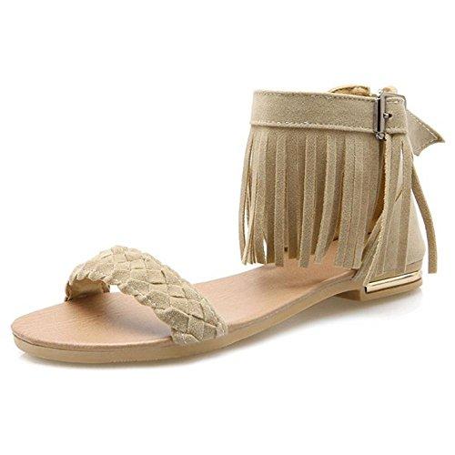 TAOFFEN Femmes Classique Bout Ouvert Sandales Plates Sangle De Cheville Fermeture Eclair Chaussures De La Frange Beige