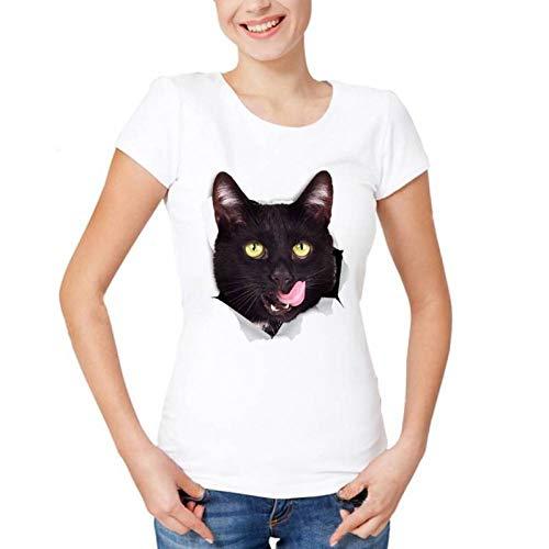 Hungrig Langarm (LIULINUIJ Frauen-T-Shirt Hungrige Schwarze Katze Bricht Lebhaftes T-Shirt Der Frauen 3D Neues Weißes Zufälliges Atmungsaktives T-Shirt Femme Kurzhaarkatze Lustiges T-Shirt Aus)