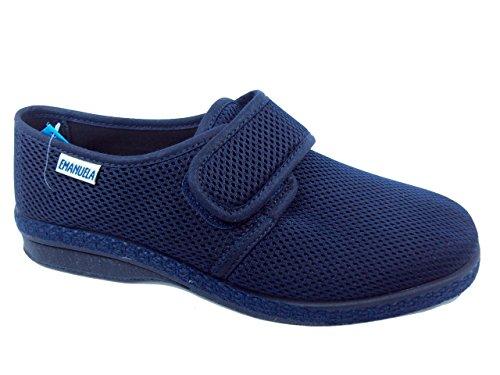 EMANUELA 5254 - Blu Pantofole Uomo in Tessuto con Velcro Lavabili in Lavatrice A 30 Gradi Blu 42