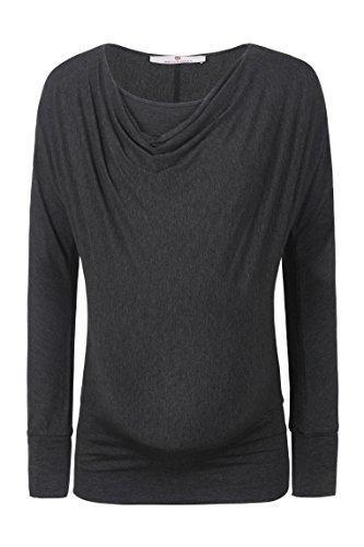 bellybutton Schwangerschaftsmode Damen Langarmshirts Grau (Dark Gray Melange 8120)