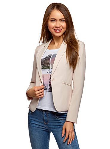 oodji Ultra Damen Taillierter Blazer Basic, Beige, DE 36 / EU 38 / S